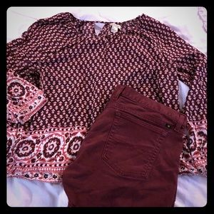 {Lucky Brand} Boho Peasant Blouse Top